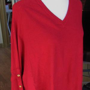 Long Sleeve V-Neck Sweater Top Size XXL